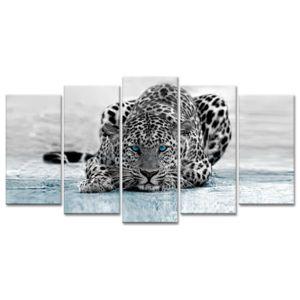 declina tableau xxl animaux l opard noir et blanc tableau sur toile 80cm x 150cm pas cher. Black Bedroom Furniture Sets. Home Design Ideas