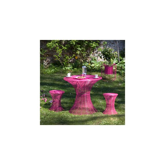 GreenPath - Salon de jardin 2 places métal : Table ronde 80cm + 2 ...