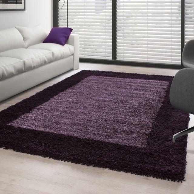 Ayyildiz Tapis - Tapis Shaggy pile longue designe Violet ...