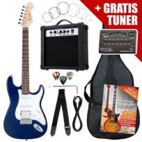 Rocktile - St PowerPack guitare électrique bleu ampli, housse, accordeur, câble, sangle, cordes