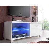 Comfort - Home Innovation - Meuble de télévision Led, Meuble de salon, Blanc mate et Blanc Laqué, Dimensions: 100 x 40 x 42 cm de profondeur