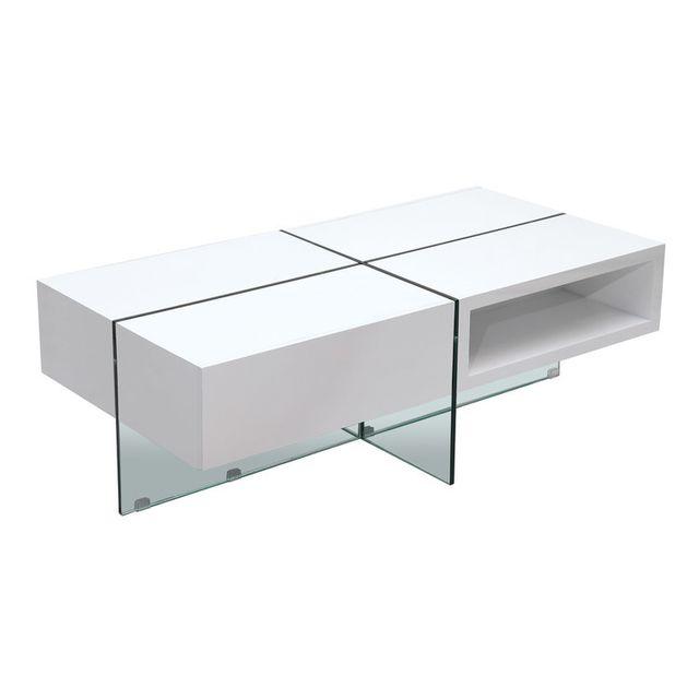 Axe Design Table basse rectangulaire 2 tiroirs bois/verre trempé L120cm Medley