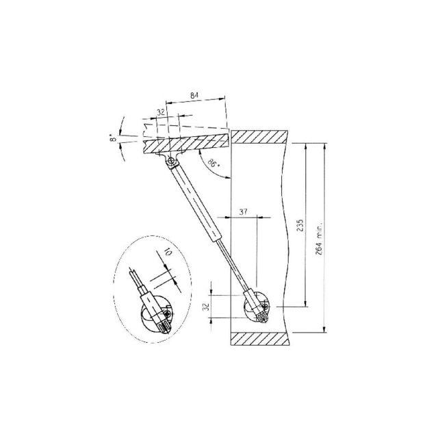 Charge:5 kg ITALIANA FERRAMENTA Compas pneumatique pour porte relevable