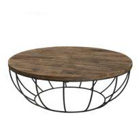 MACABANE - Table basse coque noire 100 x 100 cm