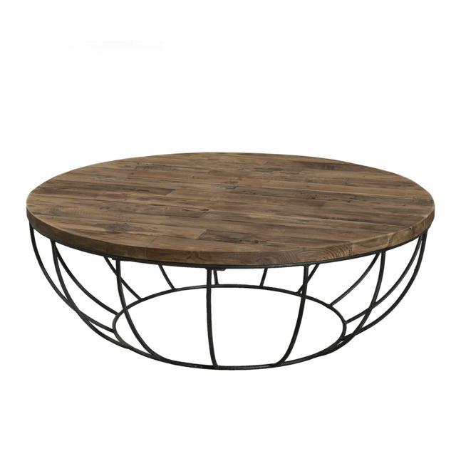 MACABANE Table basse coque noire 100 x 100 cm