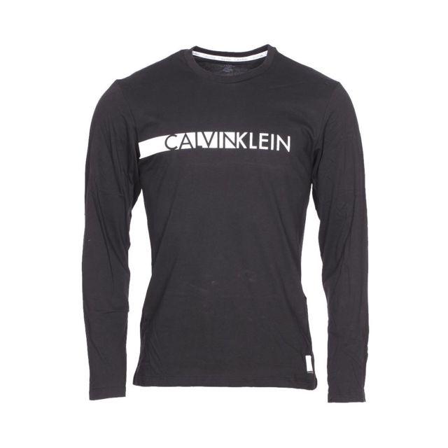 Tee Shirt Calvin Longues Klein Pas Floqué Noir Manches Cher vqnzP5n4O