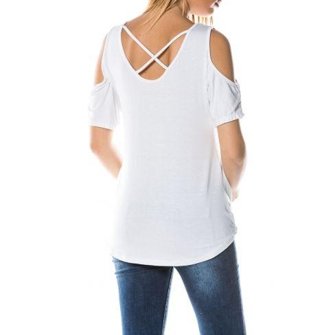 Princesse Boutique - T-shirt Blanc dos croisé - pas cher Achat ... cd113f58e0f