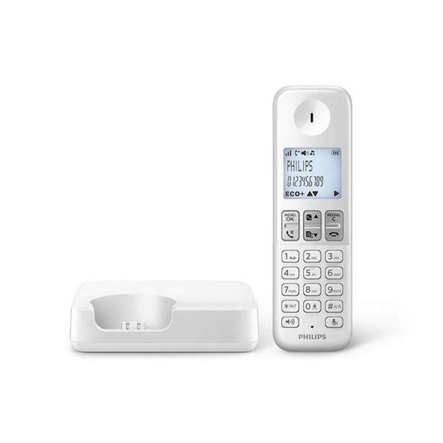 PHILIPS - Téléphone Fixe Sans fil sans répondeur D2301W/FR Solo Blanc