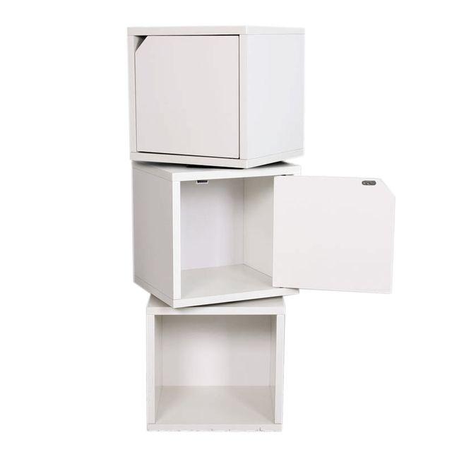 Mendler 3x étagère Cube M73 2 Portes Combinable 34x29x100cm