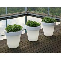 New Garden - Pot de fleur lumineux en polyéthylène blanc diamètre 45 cm Magnolia