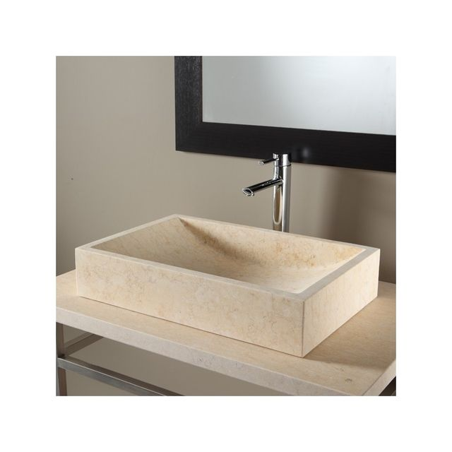 Vasque A Poser En Pierre Naturelle Beige Rectangulaire