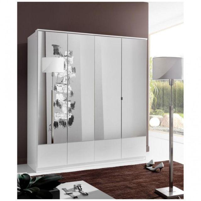 Inside 75 Armoire penderie Dingle 4 portes miroirs largeur 179 blanche