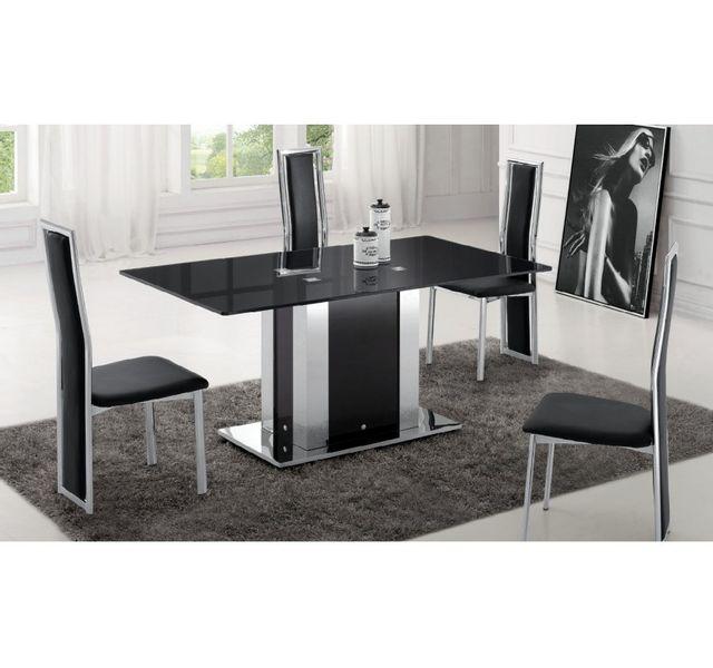 Chloe Decoration - Table salle à manger en verre celeste - noir ...