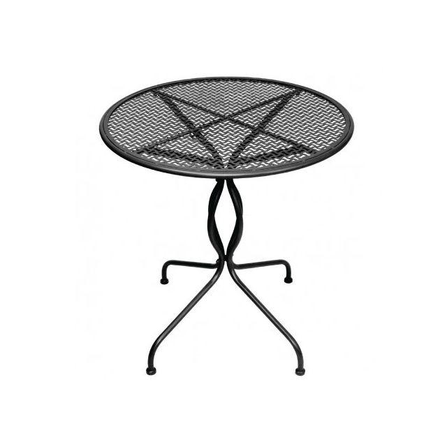 Materiel Chr Pro Table de patio classique en acier Bolero noire 700 mm - Noir