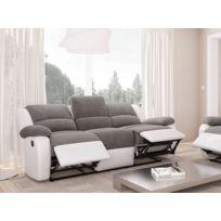 USINESTREET - Canapé Relaxation 3 places Microfibre / Simili DETENTE - Couleur - Blanc / Gris