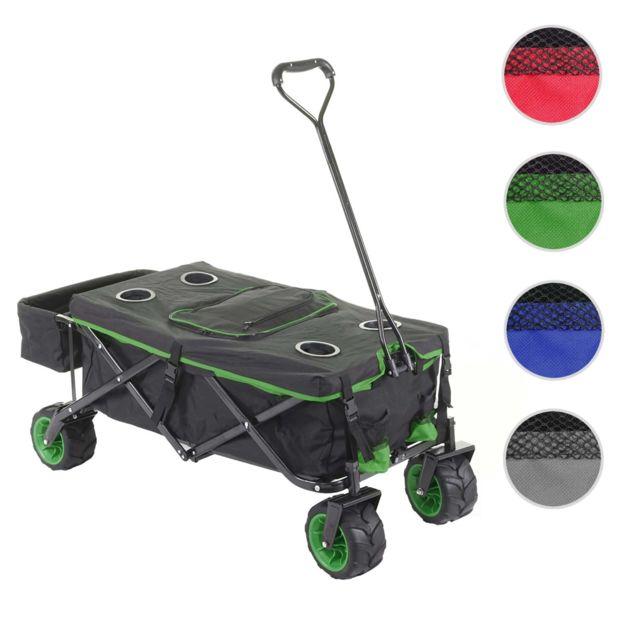 Mendler Chariot pliable Hwc-e62, charette à bras, pneus tout terrain ~ avec recouvrement et sac réfrigérant noir/vert