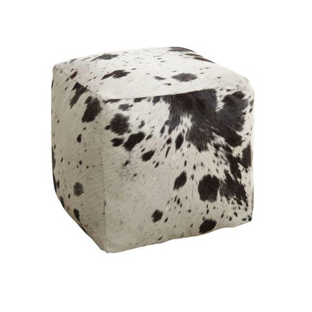 AUBRY GASPARD Pouf cube en peau de vache
