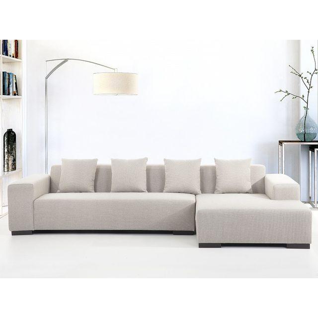Beliani Canapé d'angle - canapé en tissu beige - sofa Lungo G