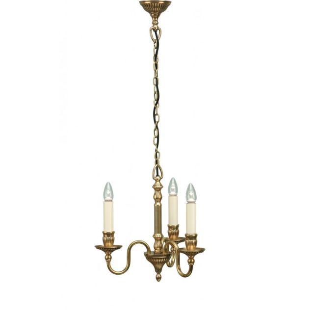 Interiors 1900 Suspension Fitzroy, laiton et 3 bougies couleur ivoire