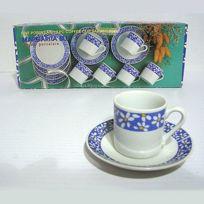 B.E.C. - Tasses Moka X 6 Porcelaine décor marguerite bleu
