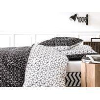 Today - Parure housse de couette 240x220cm + taies coton motif cube rosace noir/blanc Cubinc