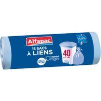 ALFAPAC - 15 sacs poubelle à liens - 40L - AFV04015