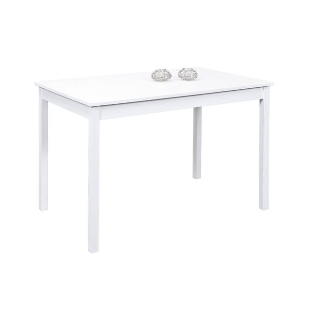 Comforium Table 120 x 75 cm en pin massif coloris blanc