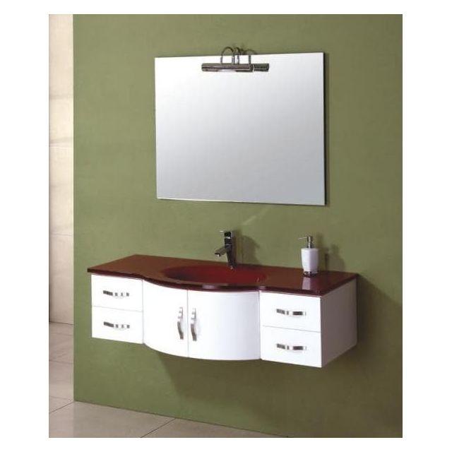 Items France - Rubis - Meuble salle de bain rouge et blanc ...