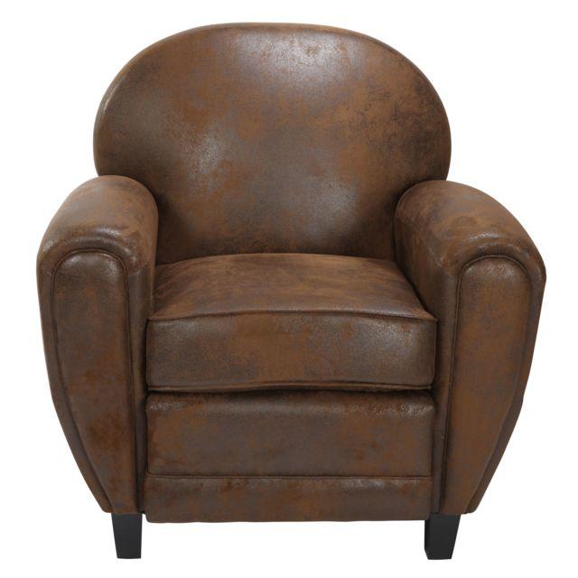 rendez vous deco fauteuil club marron vieilli pas cher achat vente fauteuils rueducommerce. Black Bedroom Furniture Sets. Home Design Ideas