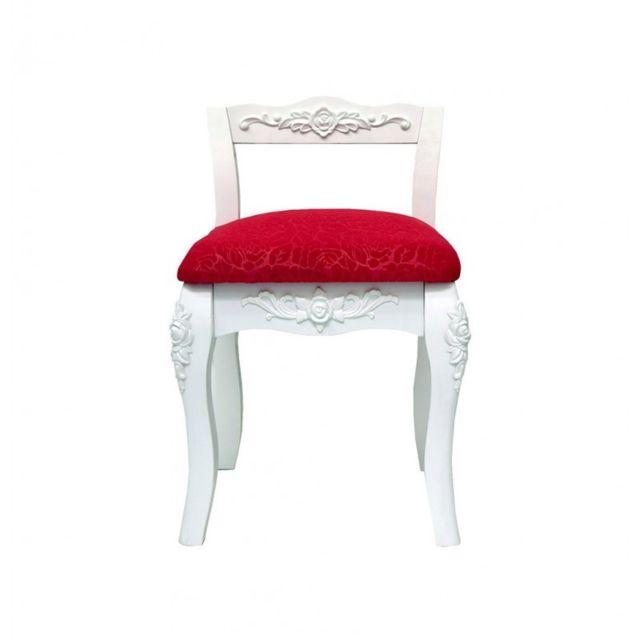 Mobili rebecca tabouret chaise bois fleur blanc rouge shabby chic retro chambre salle de bain - Chaise salle de bain ...