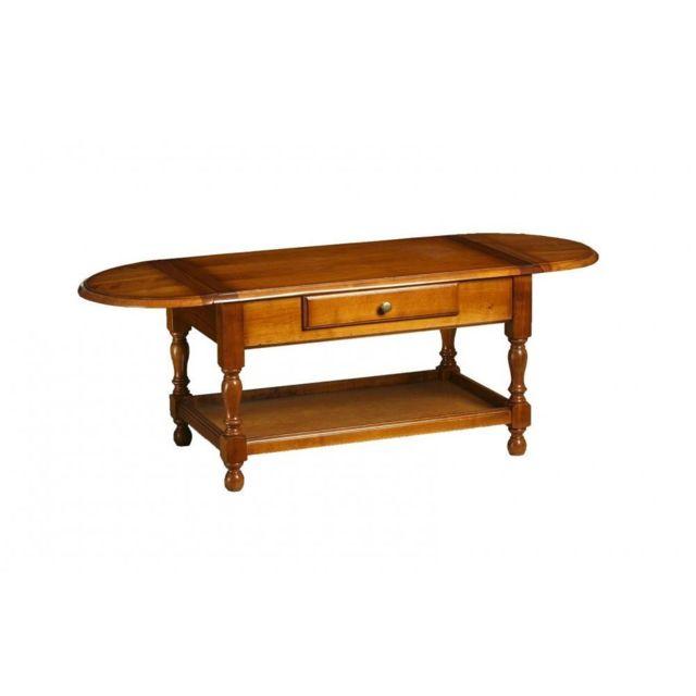 Inside 75 Table basse Eloise en merisier avec plateau rabattant et 1 tiroir