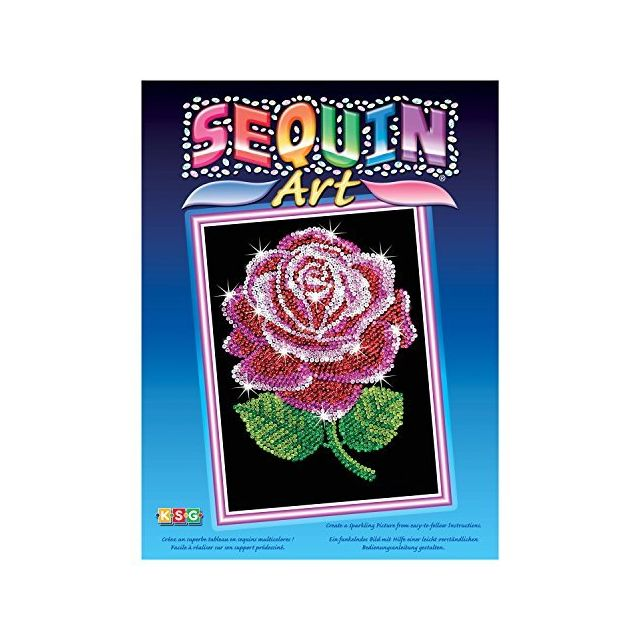 Sequin Art Blue Red Rose Sparkling Arts and Crafts Picture Kit Creative Crafts