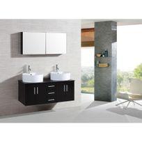 Rocambolesk - Magnifique meuble salle de bain complet Franka wenge : ensemble salle de bain 2 meubles + 2 vasques + 1 mirroir