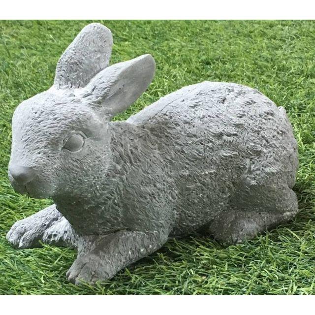 Grande Statue Sculpture Lapin De Jardin En Ciment 30 Cm Long