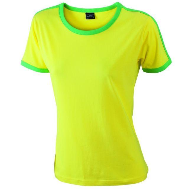 53a26d3296de James   Nicholson - T-shirt bicolore pour femme Jn018 - jaune et vert