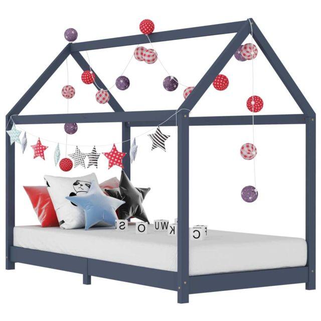 sublime Mobilier pour bébés & tout-petits ligne Managua Cadre de lit d'enfant Gris Bois de pin massif 80x160 cm