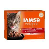 Iams Chat - Iams Delights multibox Saveurs de la Terre en sauce Land Collection Toutes Races - 12x85 g - Pour chat adulte