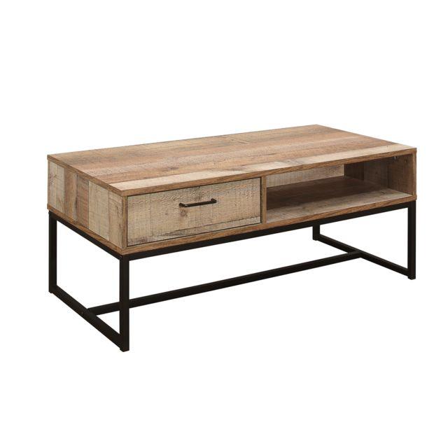 Home Design International Table Basse Moderne 1 Tiroir Style Industriel - Brooklyn