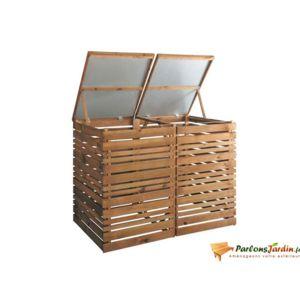 jardipolys cache poubelle en bois double lign z pas cher achat vente cache poubelles. Black Bedroom Furniture Sets. Home Design Ideas