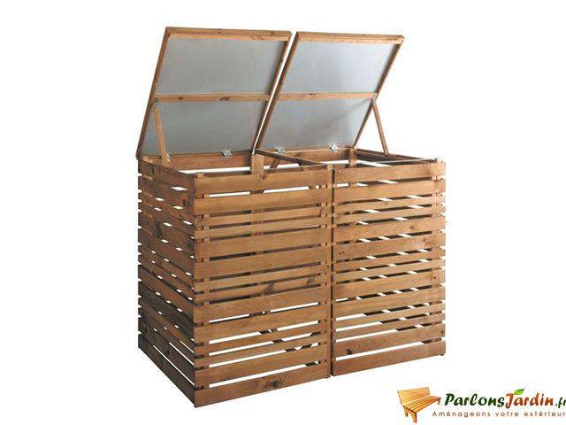 super populaire 5bac2 50ce5 Cache poubelle en bois double Lign Z
