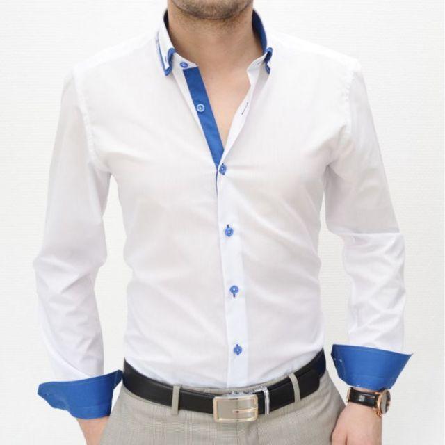Ferlucci - Chemise Homme - Fleur - Coupe Slim Fit - Calabria - Blanc - Moda.  Prestige Man - Chemise homme blanche slim fit double cols 8f5f7b41ef38