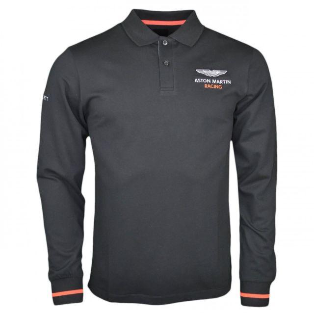 1532c071831 Hackett - Polo manches longues Aston Martin noir et orange pour homme - pas  cher Achat   Vente Polo homme - RueDuCommerce