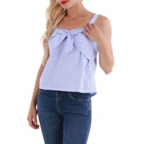 Lamodeuse - Top bleu à rayures avec noeud
