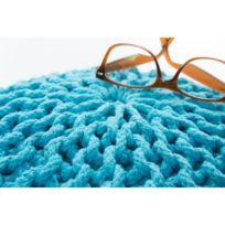 Deladeco - Pouf tricot en coton fait main turquoise Ulysse