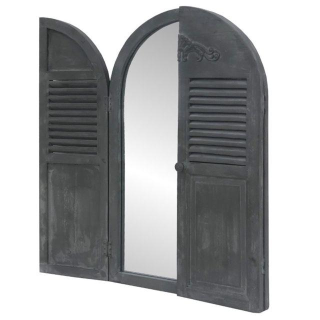 Chemin De Campagne Miroir Fenêtre Volet avec Prise Mural en Bois 89 cm