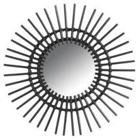 AUBRY GASPARD - Miroir déco Vintage rotin noir