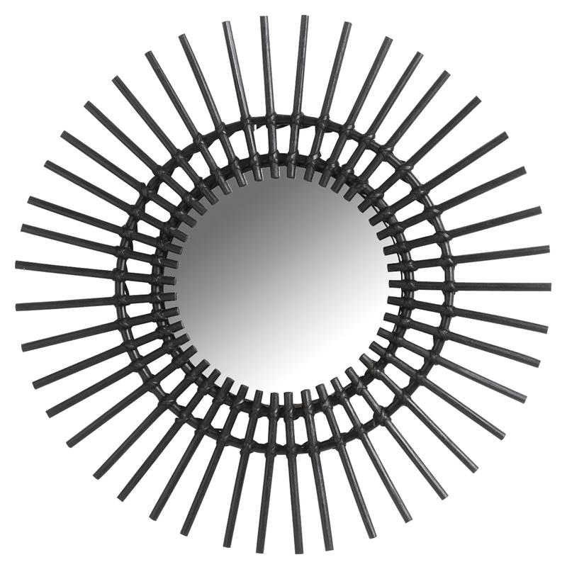 Miroir déco Vintage rotin noir