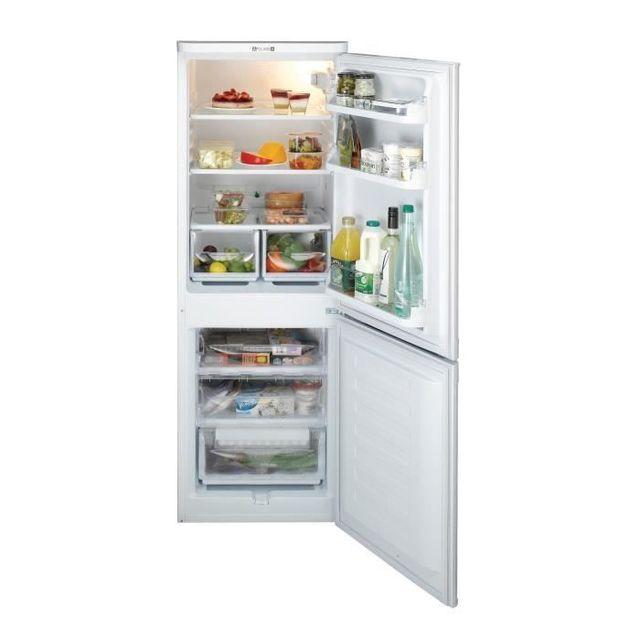 Indesit Réfrigérateur congélateur combiné NCAA 55 Consommation 242 kWh/an, Dégivrage Réfrigérateur automatique/Congélateur manuel, Volume utile Réfrigérateur 150L/Congélateur 67L, Classe climatique SN.N.ST.