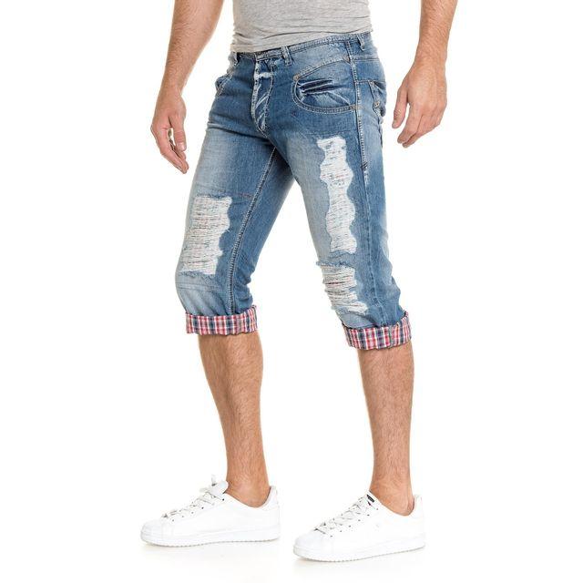 9b54d9014616b9 BLZ Jeans - Bermuda pantacourt en jean bleu fashion déchiré - pas ...