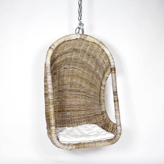 Made In Meubles - Fauteuil suspendu tressé en rotin, coussin blanc | Vdl-11 Bois